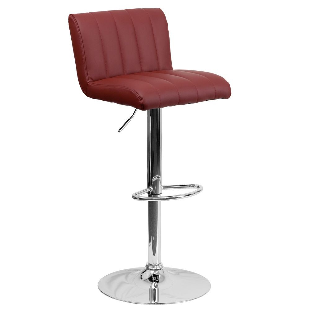 Flash Furniture CH-112010-BURG-GG Contemporary Burgundy Vinyl Adjustable Height Bar Stool