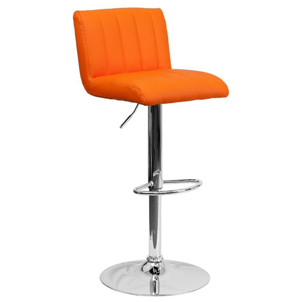 Flash Furniture CH-112010-ORG-GG Contemporary Orange Vinyl Adjustable Height Bar Stool