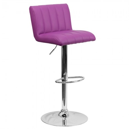 Flash Furniture CH-112010-PUR-GG Contemporary Purple Vinyl Adjustable Height Bar Stool