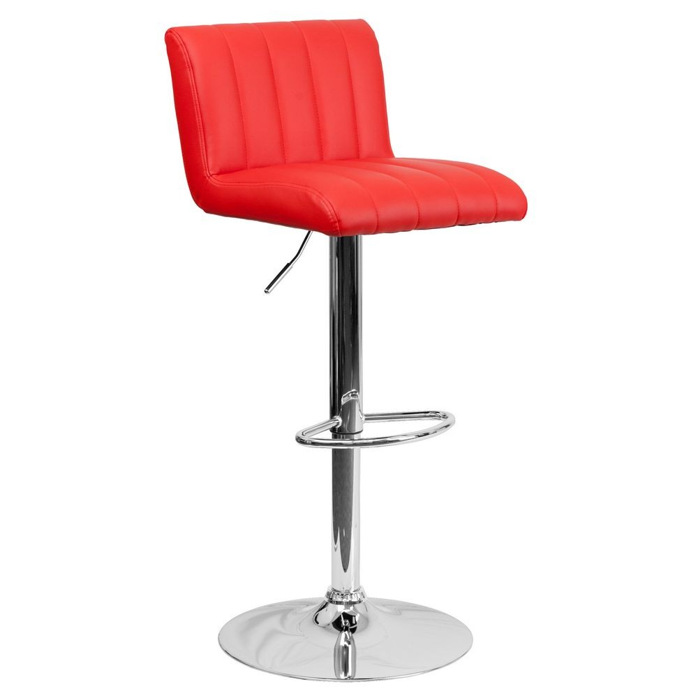 Flash Furniture CH-112010-RED-GG Contemporary Red Vinyl Adjustable Height Bar Stool