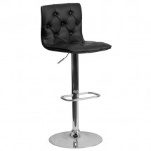Flash Furniture CH-112080-BK-GG Contemporary Tufted Black Vinyl Adjustable Height Bar Stool