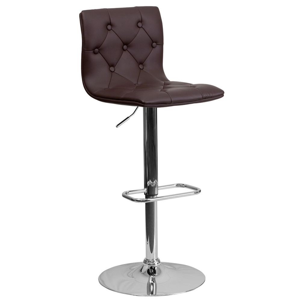 Flash Furniture CH-112080-BRN-GG Contemporary Tufted Brown Vinyl Adjustable Height Bar Stool
