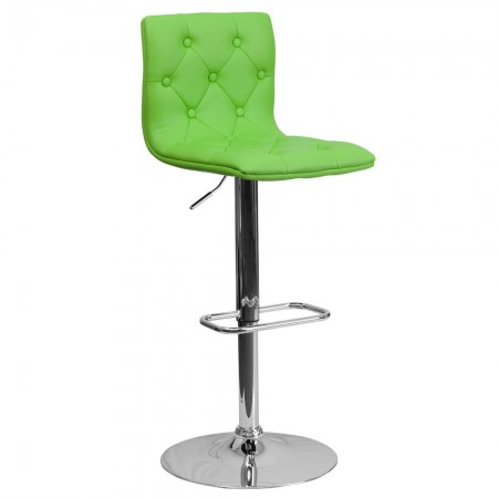 Flash Furniture CH-112080-GRN-GG Contemporary Tufted Green Vinyl Adjustable Height Bar Stool