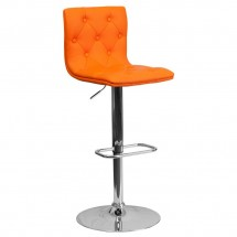 Flash Furniture CH-112080-ORG-GG Contemporary Tufted Orange Vinyl Adjustable Height Bar Stool