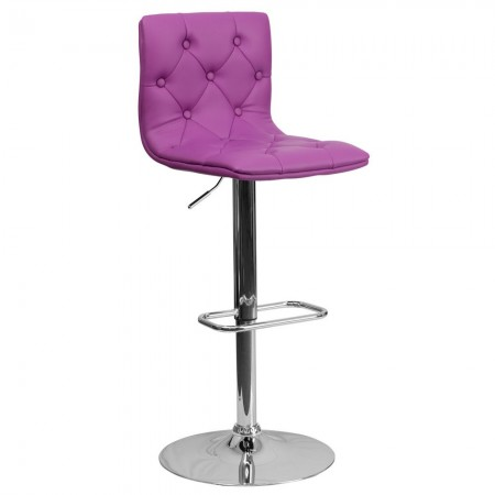 Flash Furniture CH-112080-PUR-GG Contemporary Tufted Purple Vinyl Adjustable Height Bar Stool