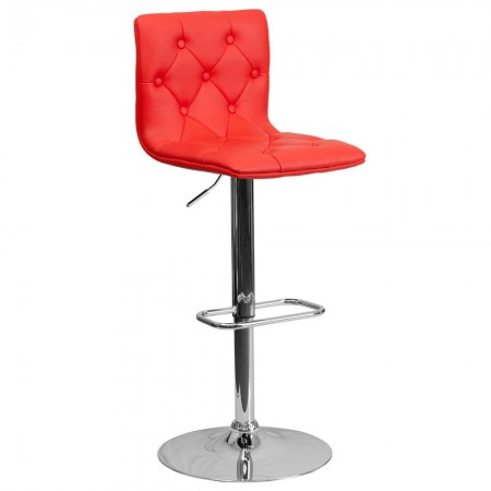 Flash Furniture CH-112080-RED-GG Contemporary Tufted Red Vinyl Adjustable Height Bar Stool