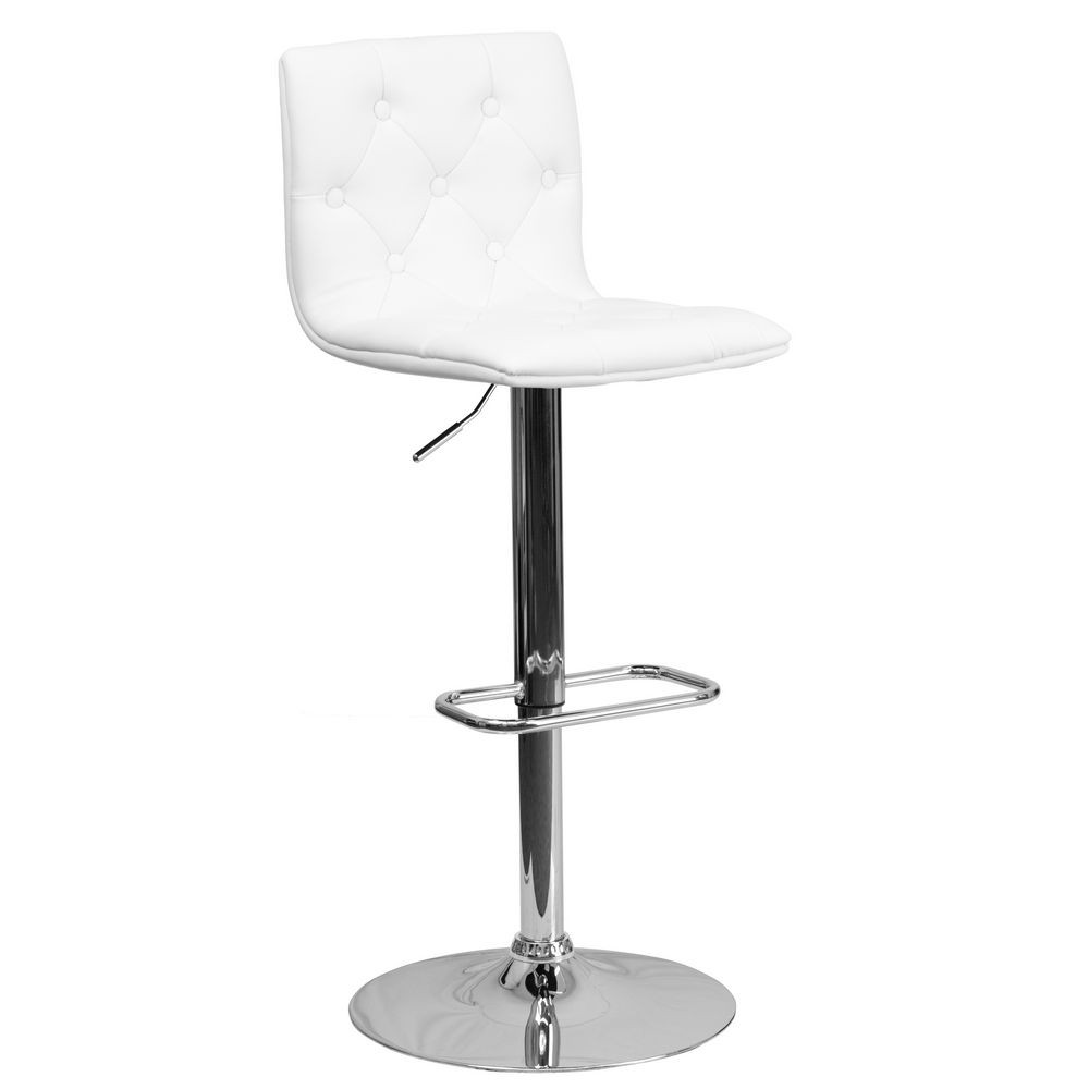 Flash Furniture CH-112080-WH-GG Contemporary Tufted White Vinyl Adjustable Height Bar Stool