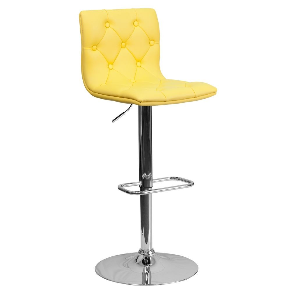 Flash Furniture CH-112080-YEL-GG Contemporary Tufted Yellow Vinyl Adjustable Height Bar Stool