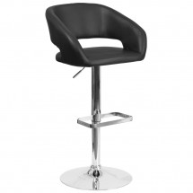 Flash Furniture CH-122070-BK-GG Contemporary Charcoal Vinyl Adjustable Height Barstool with Rounded Mid-Back and Chrome Base