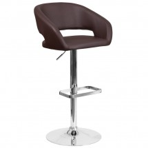 Flash Furniture CH-122070-BRN-GG Contemporary Brown Vinyl Adjustable Height Barstool with Rounded Mid-Back and Chrome Base