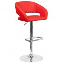 Flash Furniture CH-122070-RED-GG Contemporary Red Vinyl Adjustable Height Barstool with Rounded Mid-Back and Chrome Base
