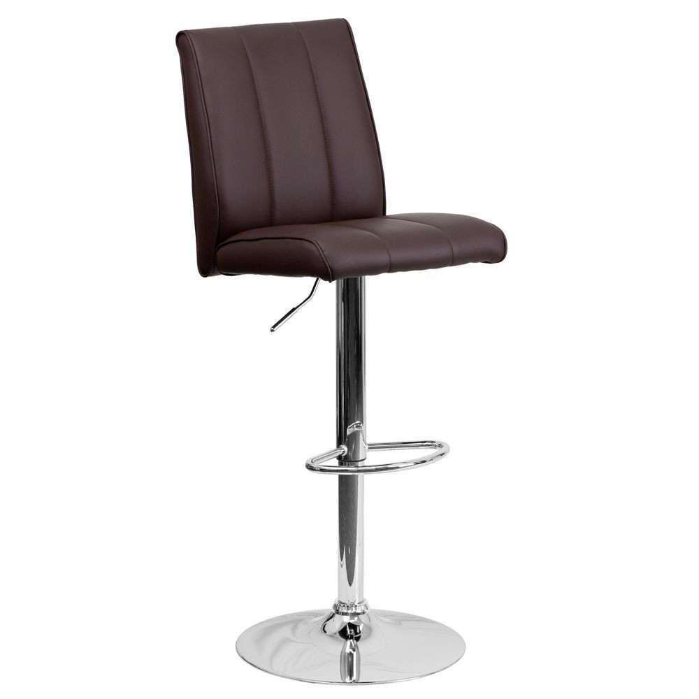 Flash Furniture CH-122090-BRN-GG Contemporary Brown Vinyl Adjustable Height Bar Stool