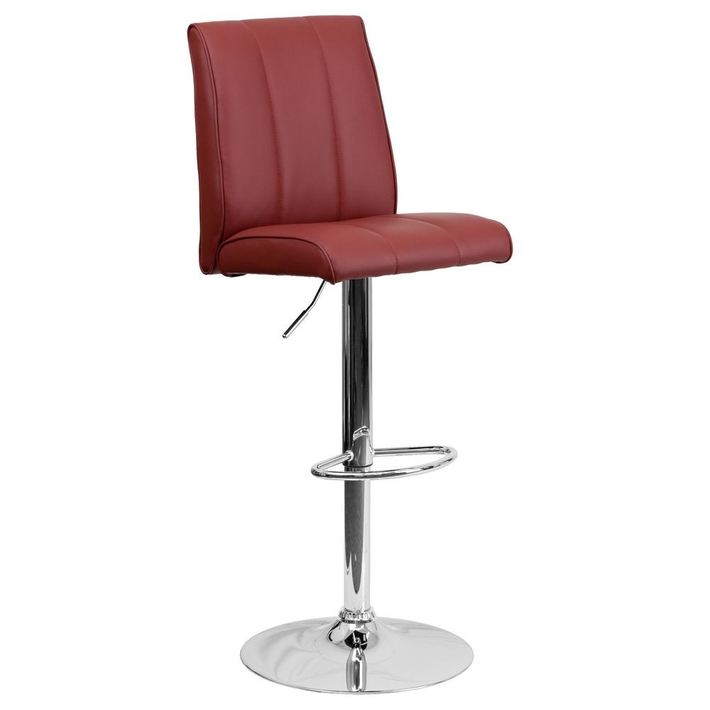 Flash Furniture CH-122090-BURG-GG Contemporary Burgundy Vinyl Adjustable Height Bar Stool