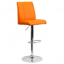 Flash Furniture CH-122090-ORG-GG Contemporary Orange Vinyl Adjustable Height Bar Stool