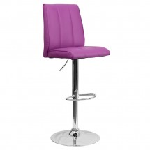 Flash Furniture CH-122090-PUR-GG Contemporary Purple Vinyl Adjustable Height Bar Stool