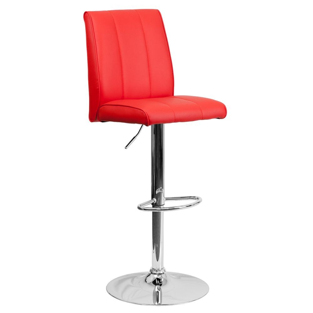 Flash Furniture CH-122090-RED-GG Contemporary Red Vinyl Adjustable Height Bar Stool