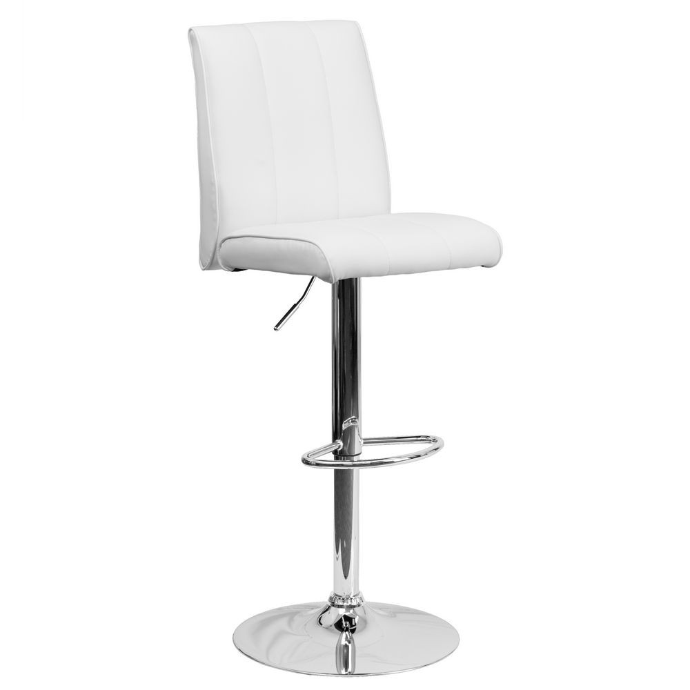 Flash Furniture CH-122090-WH-GG Contemporary White Vinyl Adjustable Height Bar Stool