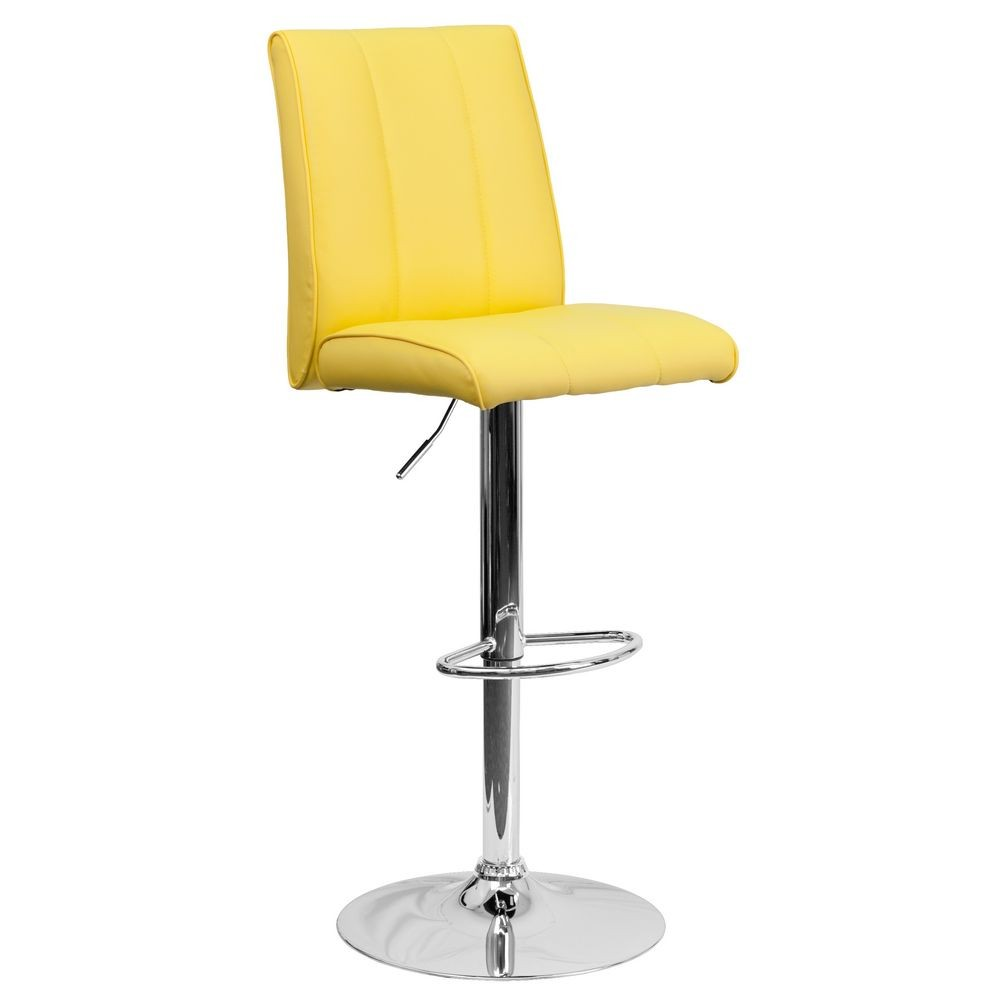 Flash Furniture CH-122090-YEL-GG Contemporary Yellow Vinyl Adjustable Height Bar Stool