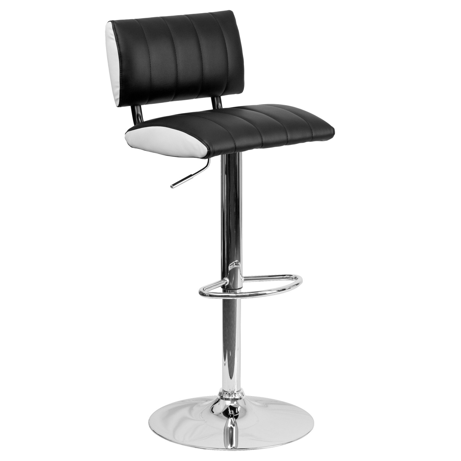 Flash Furniture CH-122150-BK-GG Contemporary Two Tone Black and White Vinyl Adjustable Height Bar Stool