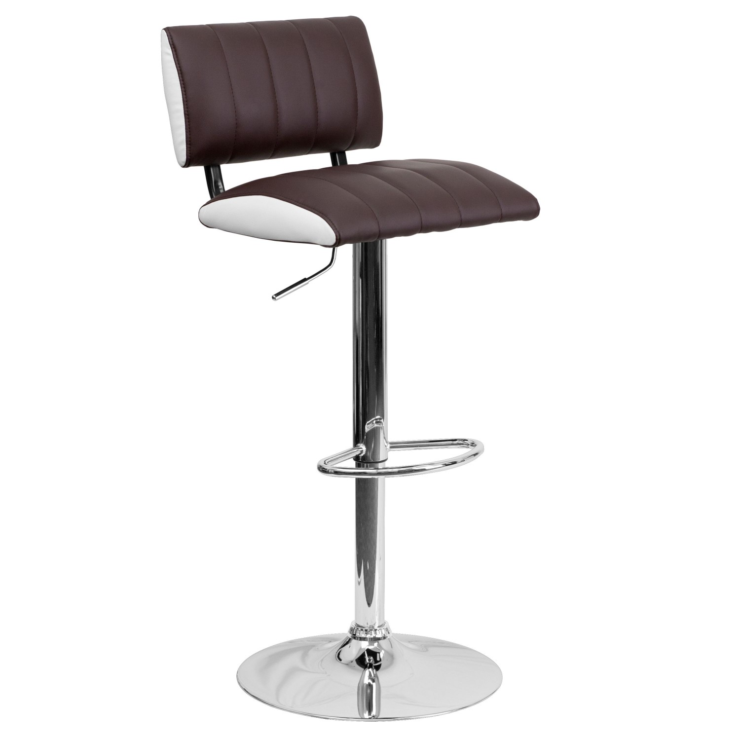 Flash Furniture CH-122150-BRN-GG Contemporary Two Tone Brown and White Vinyl Adjustable Height Bar Stool