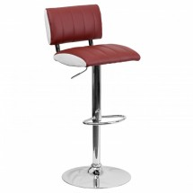 Flash Furniture CH-122150-BURG-GG Contemporary Two Tone Burgundy and White Vinyl Adjustable Height Bar Stool