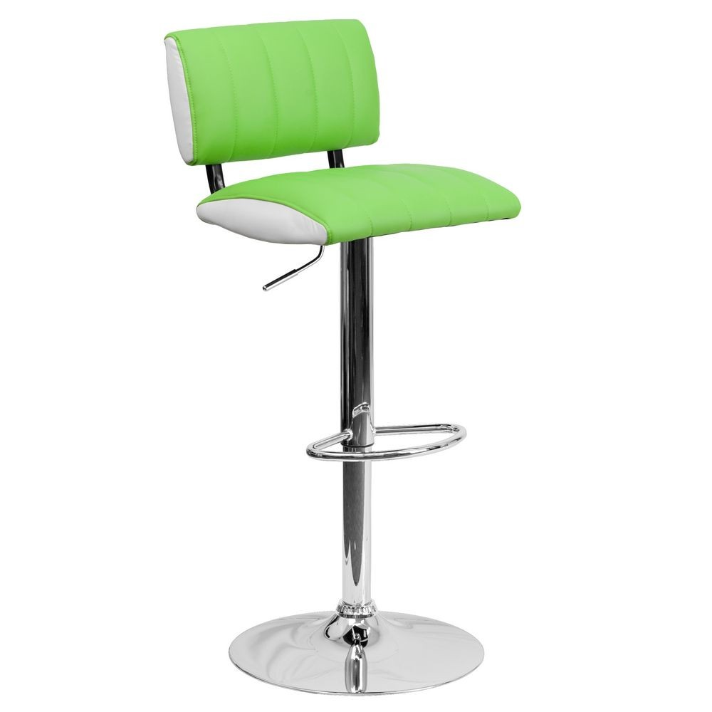 Flash Furniture CH-122150-GRN-GG Contemporary Two Tone Green and White Vinyl Adjustable Height Bar Stool