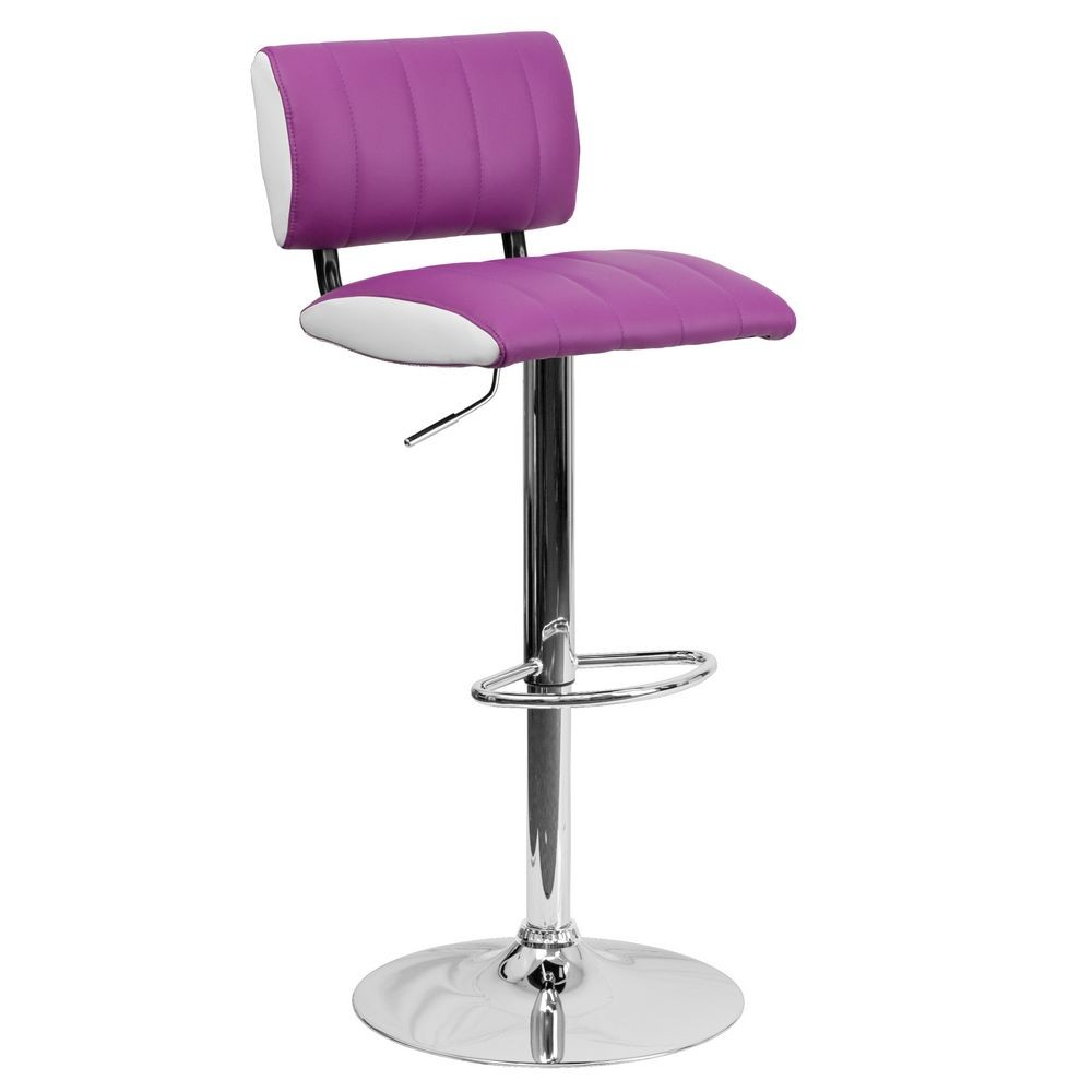Flash Furniture CH-122150-PUR-GG Contemporary Two Tone Purple and White Vinyl Adjustable Height Bar Stool