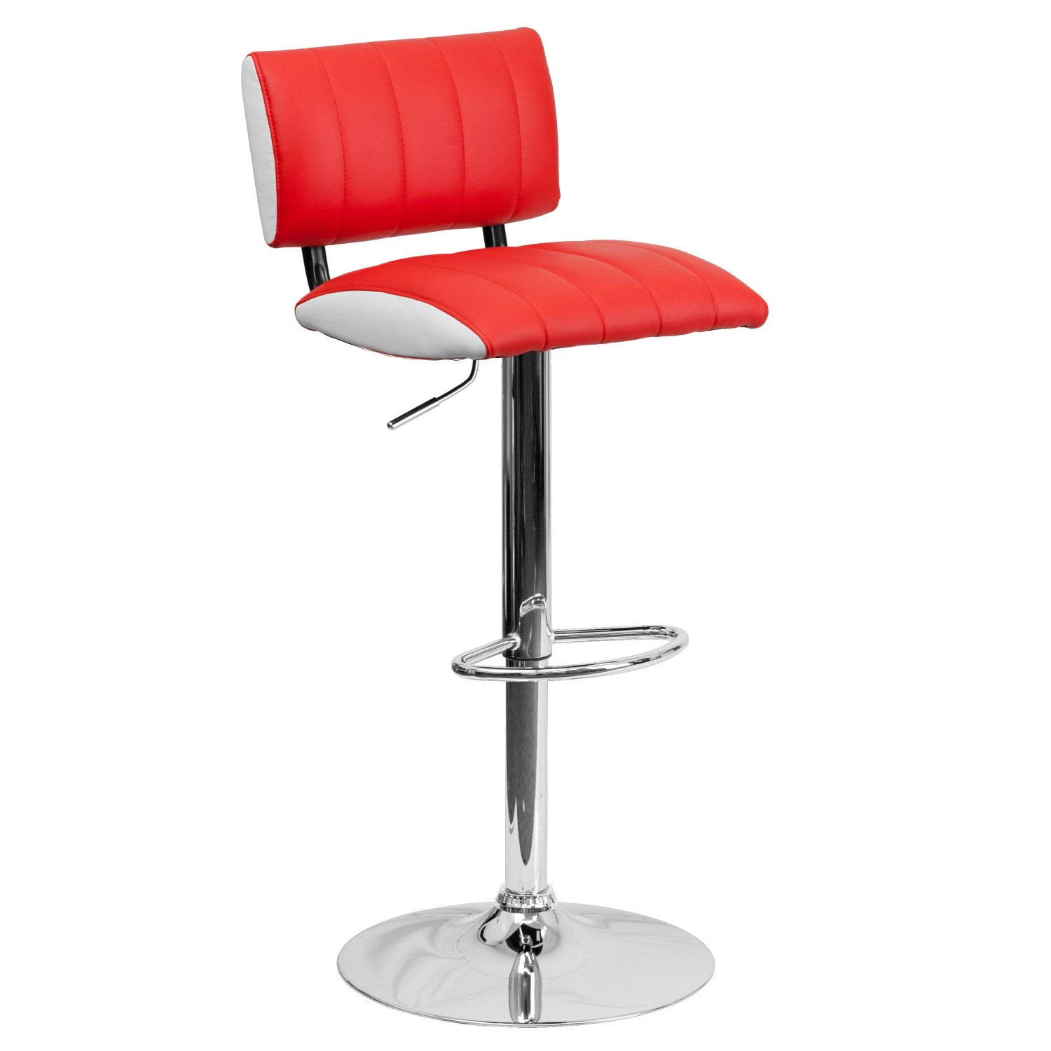 Flash Furniture CH-122150-RED-GG Contemporary Two Tone Red and White Vinyl Adjustable Height Bar Stool