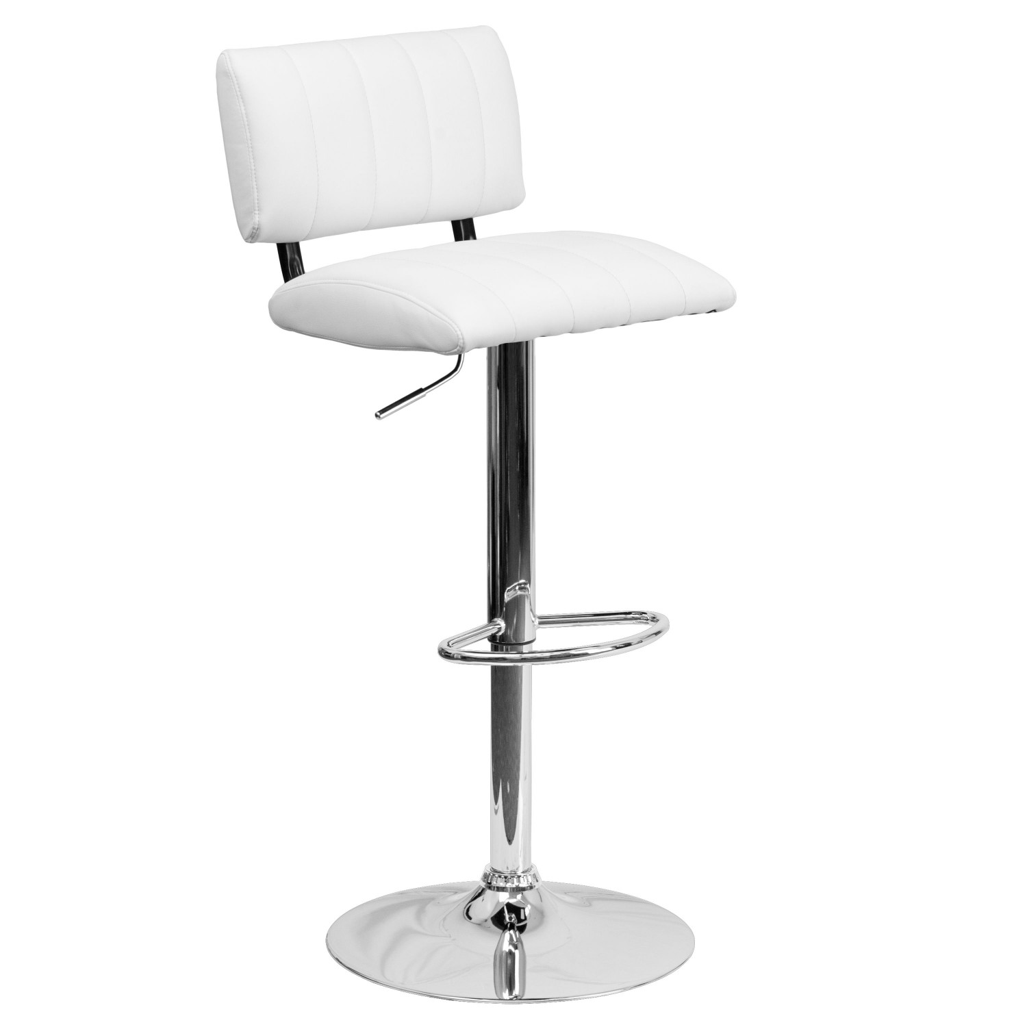 Flash Furniture CH-122150-WH-GG Contemporary White Vinyl Adjustable Height Bar Stool