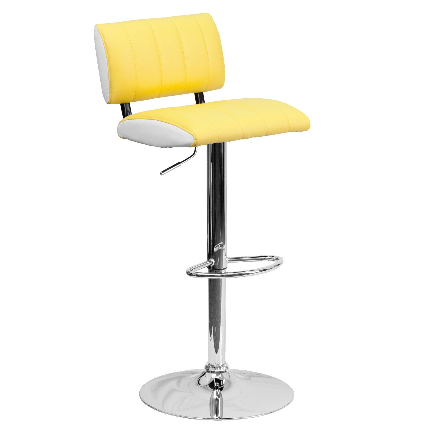Flash Furniture CH-122150-YEL-GG Contemporary Two Tone Yellow and White Vinyl Adjustable Height Bar Stool
