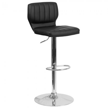 Flash Furniture CH-132330-BK-GG Contemporary Charcoal Vinyl Adjustable Height Barstool with Vertical Stitch Back and Chrome Base