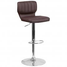 Flash Furniture CH-132330-BRN-GG Contemporary Brown Vinyl Adjustable Height Barstool with Vertical Stitch Back and Chrome Base