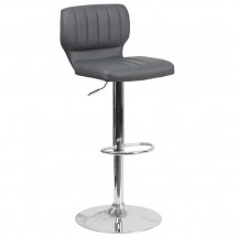 Flash Furniture CH-132330-GY-GG Contemporary Gray Vinyl Adjustable Height Barstool with Vertical Stitch Back and Chrome Base