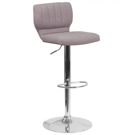 Flash Furniture CH-132330-GYFAB-GG Contemporary Gray Fabric Adjustable Height Barstool with Vertical Stitch Back and Chrome Base