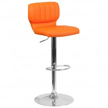 Flash Furniture CH-132330-ORG-GG Contemporary Orange Vinyl Adjustable Height Barstool with Vertical Stitch Back and Chrome Base