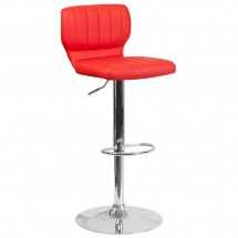 Flash Furniture CH-132330-RED-GG Contemporary Red Vinyl Adjustable Height Barstool with Vertical Stitch Back and Chrome Base