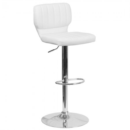 Flash Furniture CH-132330-WH-GG Contemporary White Vinyl Adjustable Height Barstool with Vertical Stitch Back and Chrome Base