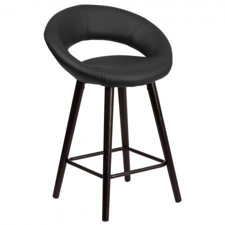 """Flash Furniture CH-152551-BK-VY-GG Kelsey Series Cappuccino Wood Counter Height Stool with Black Vinyl Seat 24"""""""