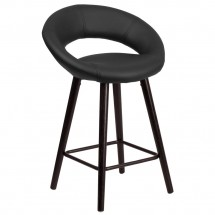 Flash Furniture CH-152551-BK-VY-GG Kelsey Series Cappuccino Wood Counter Height Stool with Black Vinyl Seat 24