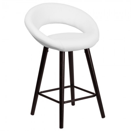 """Flash Furniture CH-152551-WH-VY-GG Kelsey Series Cappuccino Wood Counter Height Stool with White Vinyl Seat 24"""""""