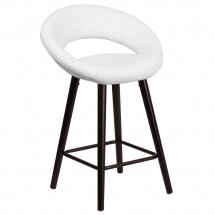Flash Furniture CH-152551-WH-VY-GG Kelsey Series Cappuccino Wood Counter Height Stool with White Vinyl Seat 24