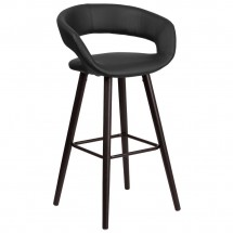 """Flash Furniture CH-152560-BK-VY-GG Brynn Series Cappuccino Wood Barstool with Black Vinyl Seat 29"""""""
