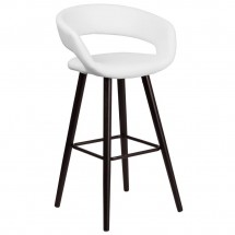 """Flash Furniture CH-152560-WH-VY-GG Brynn Series Cappuccino Wood Barstool with White Vinyl Seat 29"""""""