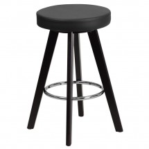 """Flash Furniture CH-152600-BK-VY-GG Trenton Series Cappuccino Wood Counter Height Stool with Black Vinyl Seat 24"""""""