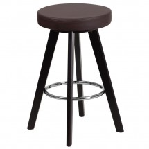 """Flash Furniture CH-152600-BRN-VY-GG Trenton Series Cappuccino Wood Counter Height Stool with Brown Vinyl Seat 24"""""""