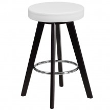 """Flash Furniture CH-152600-WH-VY-GG Trenton Series Cappuccino Wood Counter Height Stool with White Vinyl Seat 24"""""""