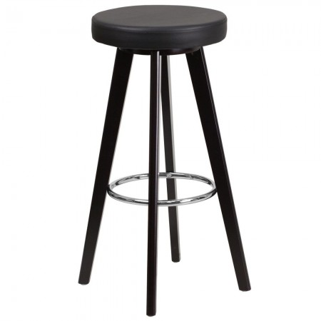 """Flash Furniture CH-152601-BK-VY-GG Trenton Series Cappuccino Wood Barstool with Black Vinyl Seat 29"""""""