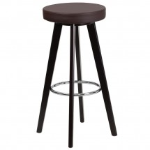 """Flash Furniture CH-152601-BRN-VY-GG Trenton Series Cappuccino Wood Barstool with Brown Vinyl Seat 29"""""""