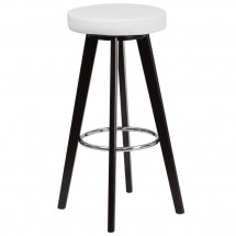 """Flash Furniture CH-152601-WH-VY-GG Trenton Series Cappuccino Wood Barstool with White Vinyl Seat 29"""""""