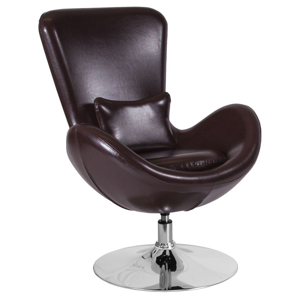 Flash Furniture CH-6-BN-LEA-GG Egg Series Brown Leather Side Reception  Chair